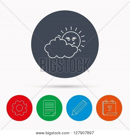 Cloudy day with sun icon. Overcast weather sign. Meteorology symbol. Calendar, cogwheel, document file and pencil icons.