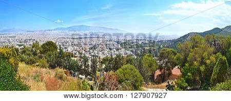 panoramic photo of Athens from the hill of prophet Elias Chaidari Greece