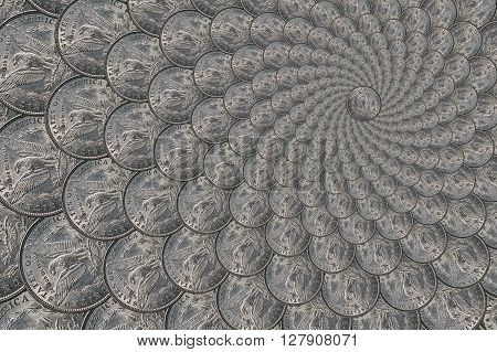 Pattern from a silver coins of a Morgan dollar