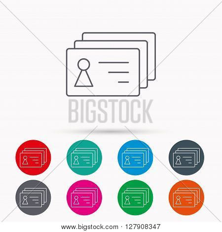 Contact cards icon. Identification badges sign. Identity holder symbol. Linear icons in circles on white background.