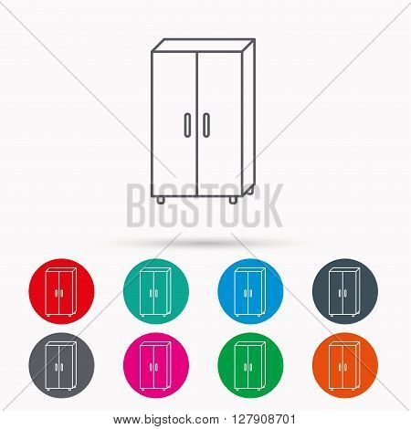 Cupboard icon. Wardrobe furniture sign. Linear icons in circles on white background.