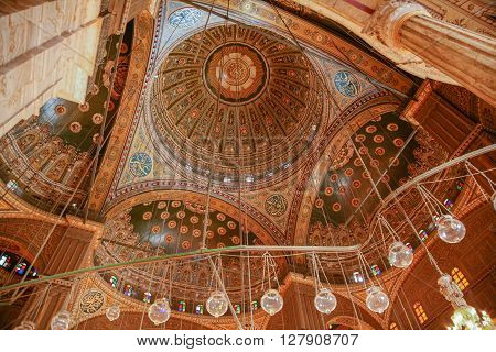 landmark of ceiling interior of muslim Ottoman Mosque of Muhammad Ali public monument also named Alabaster Mosque from year 1848 in Saladin old town in Cairo city Egypt Africa