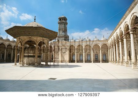 landmark of courtyard of muslim Ottoman Mosque of Muhammad Ali public monument also named Alabaster Mosque from year 1848 in Saladin old town in Cairo city Egypt Africa