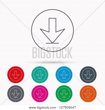 Download icon. Down arrow sign. Internet load symbol. Linear icons in circles on white background.