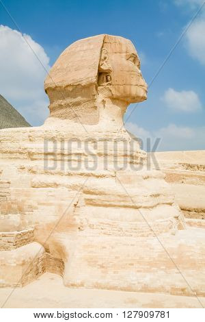 landmark of famous Great Sphinx from century XXVI Before Christ public monument in Giza next to Cairo city Egypt Africa