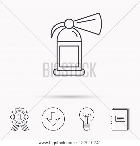 Fire extinguisher icon. Flame protection sign. Download arrow, lamp, learn book and award medal icons.