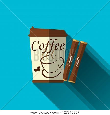 Paper cup for coffee with sugar sticks flat design sign or symbol of paper cup for coffee with long shadows vector