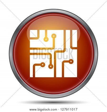 Circuit board icon. Orange internet button on white background.