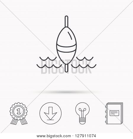 Fishing float icon. Fisherman bobber sign. Download arrow, lamp, learn book and award medal icons.
