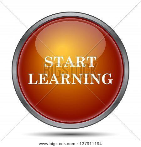 Start learn icon. Orange internet button on white background.
