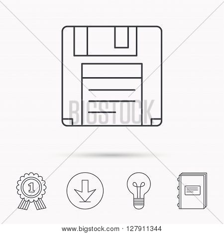 Floppy disk icon. Retro data storage sign. Download arrow, lamp, learn book and award medal icons.
