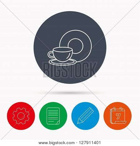 Coffee cup icon. Food and drink sign. Calendar, cogwheel, document file and pencil icons.