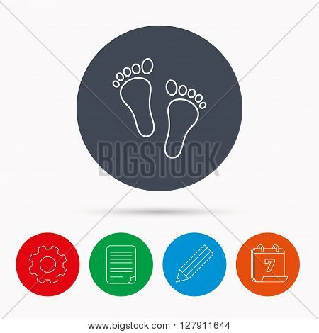 Baby footprints icon. Child feet sign. Newborn steps symbol. Calendar, cogwheel, document file and pencil icons.