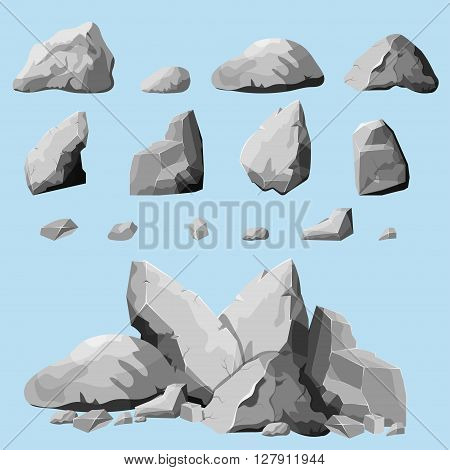 Set of stones, rock elements different shapes and shades of gray, cartoon style boulders set, flat design, isometric stones on white background, you can simply regroup rocks, vector