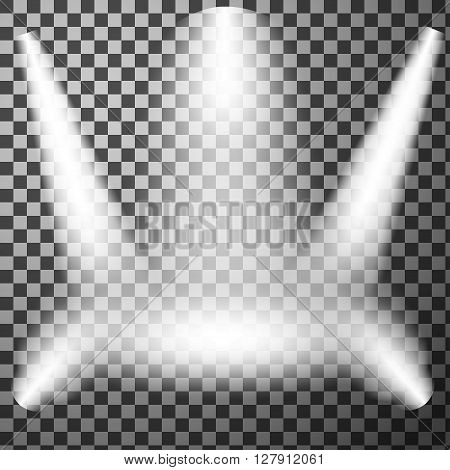 Realistic Light effect, Stage spotlight, Show scene spotlight, Spotlight glow effect, shine spotlight on transparent background, stage lighting spotlights, scene illumination, vector