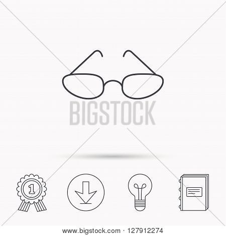 Glasses icon. Reading accessory sign. Download arrow, lamp, learn book and award medal icons.