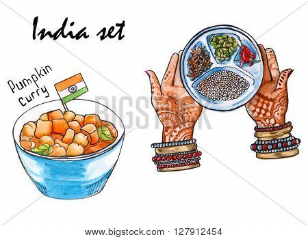 Set sketches of Indian dishes. hands with a dish of food and a sword. isolated. watercolor
