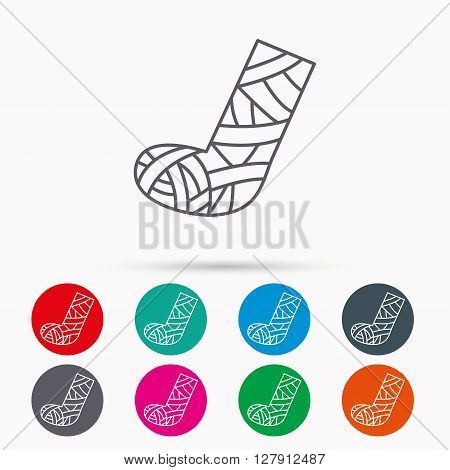 Gypsum or cast foot icon. Broken leg sign. Human recovery medicine symbol. Linear icons in circles on white background.