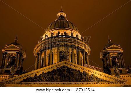St Isaac Cathedral in Petersburg. Night Photography.  Close-up of the dome.
