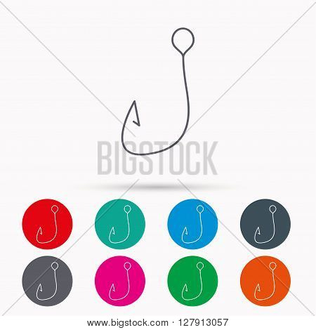 Fishing hook icon. Fisherman equipment sign. Angling symbol. Linear icons in circles on white background.