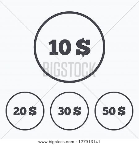 Money in Dollars icons. 10, 20, 30 and 50 USD symbols. Money signs Icons in circles.