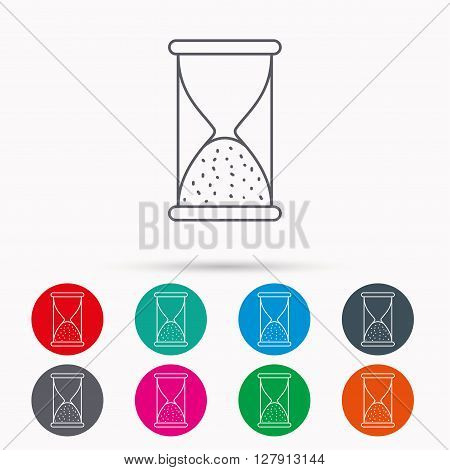 Hourglass icon. Sand end time sign. Hour ends symbol. Linear icons in circles on white background.