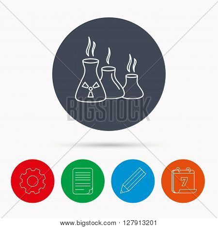 Industry building icon. Manufacturing sign. Chemical toxic production symbol. Calendar, cogwheel, document file and pencil icons.