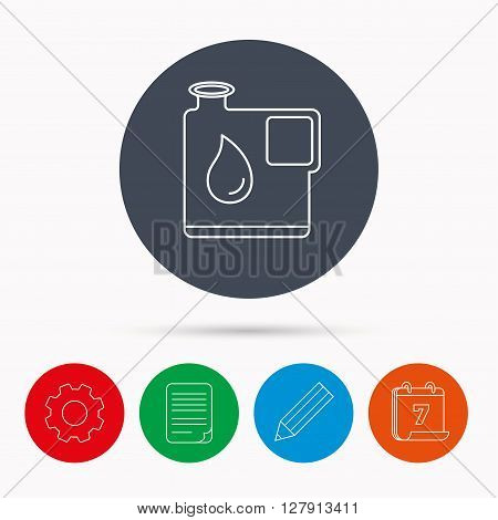 Jerrycan icon. Petrol fuel can with drop sign. Calendar, cogwheel, document file and pencil icons.