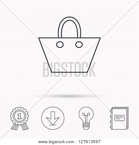 Ladies handbag icon. Elegance women accessory sign. Download arrow, lamp, learn book and award medal icons.