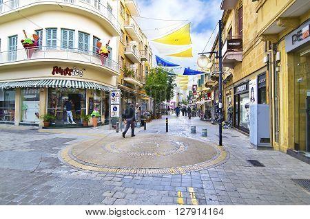 LEDRAS STREET NICOSIA CYPRUS, NOVEMBER 26 2015: Ledras street with shops at Nicosia/Lefkosia Cyprus. Editorial use.