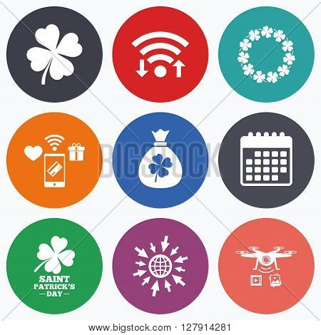Wifi, mobile payments and drones icons. Saint Patrick day icons. Money bag with clover sign. Wreath of quatrefoil clovers. Symbol of good luck. Calendar symbol.