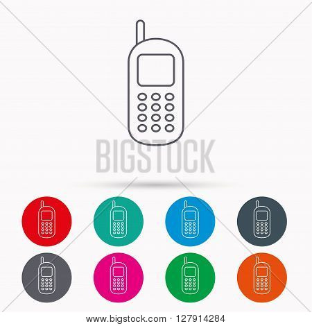 Mobile phone icon. Cellphone with antenna sign. Linear icons in circles on white background.