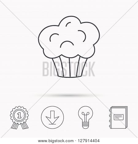 Muffin icon. Cupcake dessert sign. Bakery sweet food symbol. Download arrow, lamp, learn book and award medal icons.