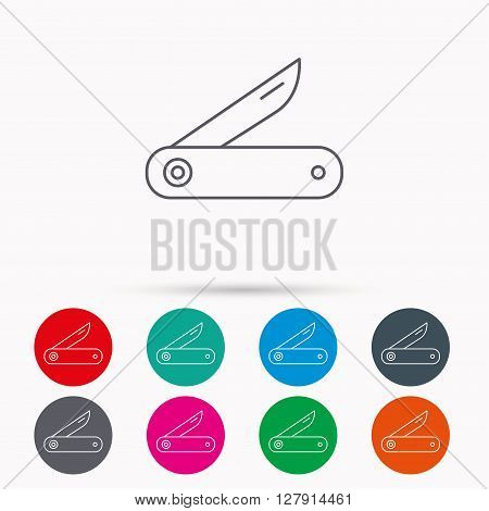 Multitool knife icon. Multifunction tool sign. Hiking equipment symbol. Linear icons in circles on white background.