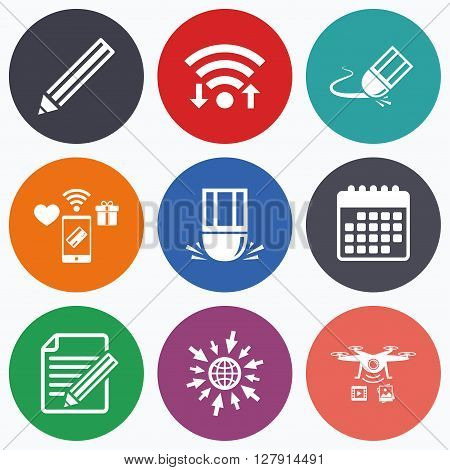 Wifi, mobile payments and drones icons. Pencil icon. Edit document file. Eraser sign. Correct drawing symbol. Calendar symbol.
