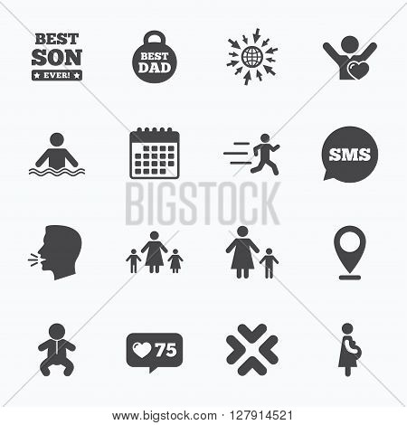 Calendar, go to web and like counter. People, family icons. Swimming, baby and pregnant woman signs. Best dad, runner and fan symbols. Sms speech bubble, talk symbols.