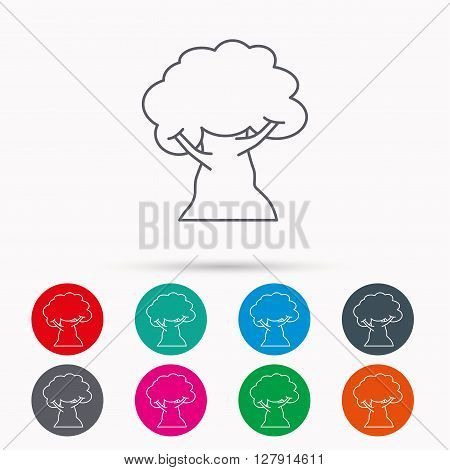 Oak tree icon. Forest wood sign. Nature environment symbol. Linear icons in circles on white background.