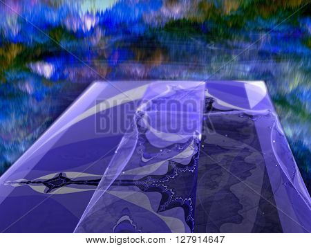 Abstract blue background - computer-generated image: glass surface with an unusual pattern, receding to the horizon and  futuristic cloudy sky. Fractal background for banners, posters and web design