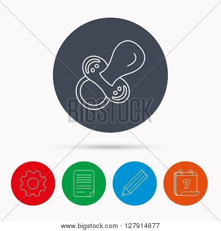 Pacifier icon. Nipple or dummy sign. Newborn child relax equipment symbol. Calendar, cogwheel, document file and pencil icons.