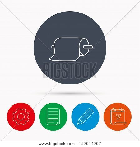 Paper towels icon. Kitchen hygiene sign. Calendar, cogwheel, document file and pencil icons.