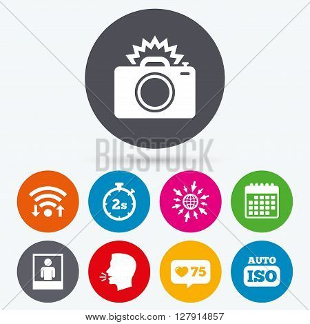 Wifi, like counter and calendar icons. Photo camera icon. Flash light and Auto ISO symbols. Stopwatch timer 2 seconds sign. Human portrait photo frame. Human talk, go to web.