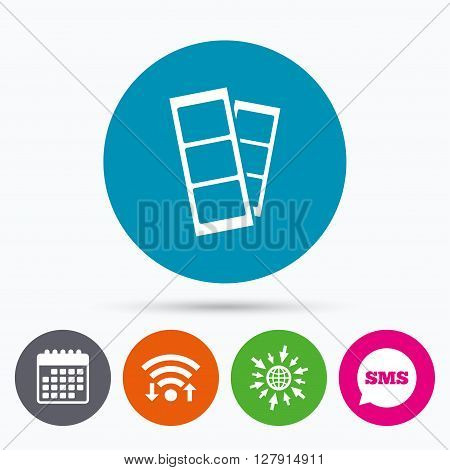 Wifi, Sms and calendar icons. Photo booth strips sign icon. Photo frame template symbol. Go to web globe.