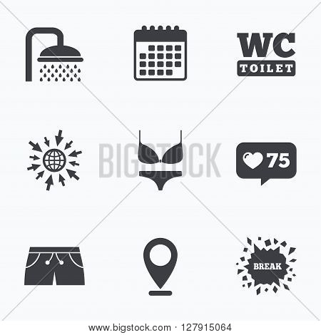 Calendar, like counter and go to web icons. Swimming pool icons. Shower water drops and swimwear symbols. WC Toilet sign. Trunks and women underwear. Location pointer.
