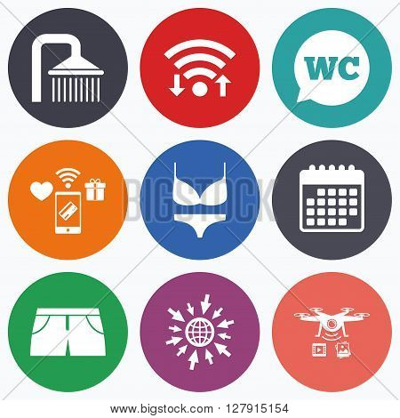 Wifi, mobile payments and drones icons. Swimming pool icons. Shower water drops and swimwear symbols. WC Toilet speech bubble sign. Trunks and women underwear. Calendar symbol.