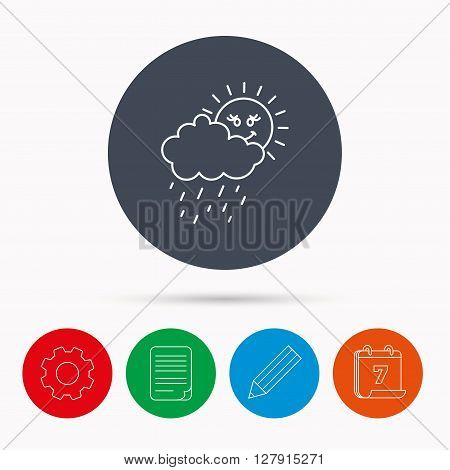 Rain and sun icon. Water drops and cloud sign. Rainy overcast day symbol. Calendar, cogwheel, document file and pencil icons.