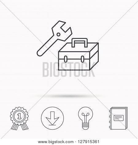 Repair toolbox icon. Wrench key sign. Download arrow, lamp, learn book and award medal icons.