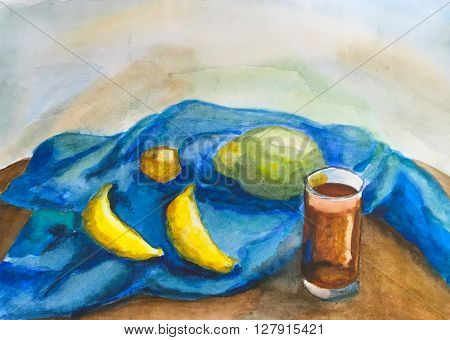 Watercolor painting  two bananas, mango and glass, nature morte
