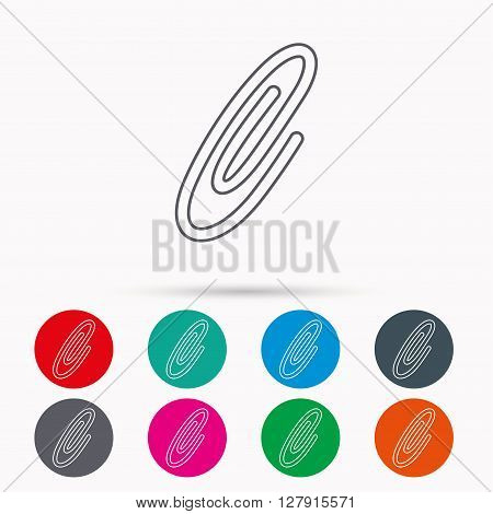 Safety pin icon. Paperclip sign. Linear icons in circles on white background.