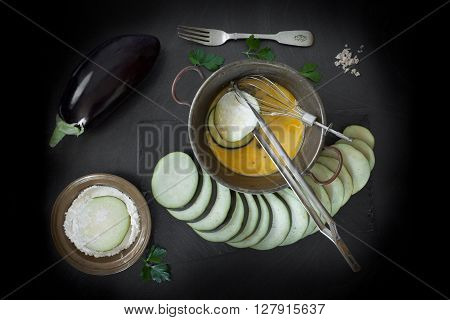Eggplant Slices Dipped In Egg And Flour