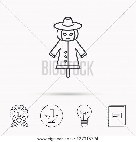 Scarecrow icon. Human silhouette with pumpkin head sign symbol. Download arrow, lamp, learn book and award medal icons.